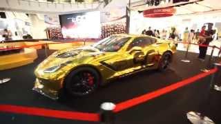 Gold Chrome Mirror Face Quality Wrap Chevrolet Corvette C7 Stingray DJเพชรจ้าWrap Car Tony Wrap