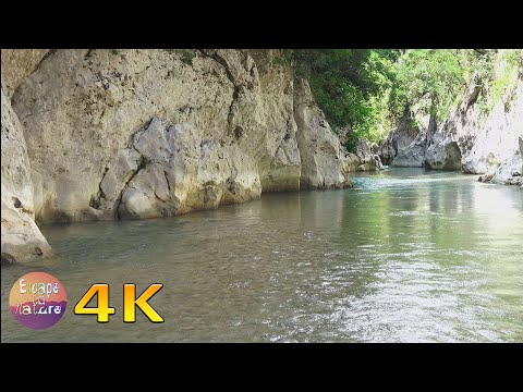 Acheron river and canyon - Soothing water sounds & bird singing - Relaxing nature sounds - 4K video