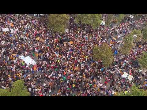 Aerial shot from downtown Barcelona, the city is packed ahead of general strike demo.