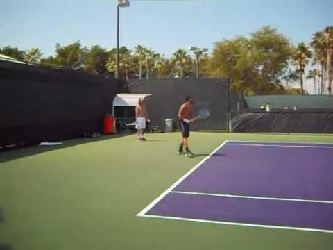Janko's practice with David Ferrer - Miami Masters 2013