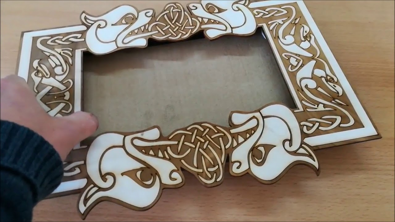 CO2 laser cutting engraving wooden picture box frame poplar - 5 minute  decoration project
