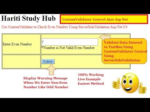 How to Use CustomValidator Control For Input Validation in Asp Net C# |  Hindi | Free Online Classes