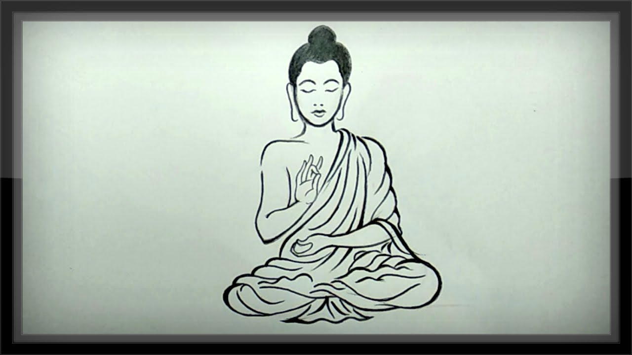 Pencil drawing how to draw lord buddha meditating