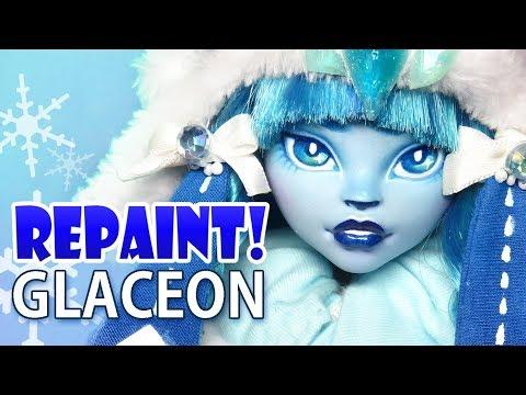 Repaint! Glaceon Pokemon Eeveelution custom OOAK doll