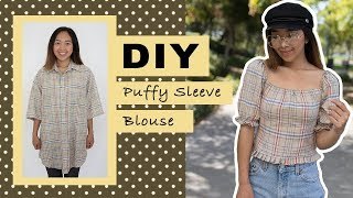DIY Puffy Sleeve Blouse from Men's Shirt | Thrifted Transformations