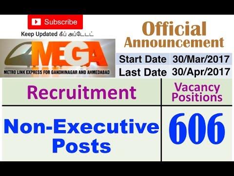 MEGA Recruitment 2017 | Non Executive posts | 606 Vacancy Positions
