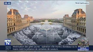 Voici le résultat du collage géant de JR pour les 30 ans de la Pyramide du Louvre