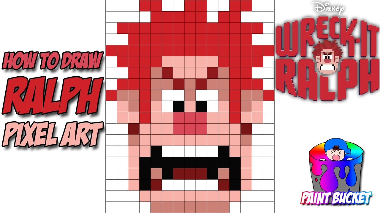 How To Draw Wreck It Ralph 8 Bit Disney Pixel Art Drawing Tutorial