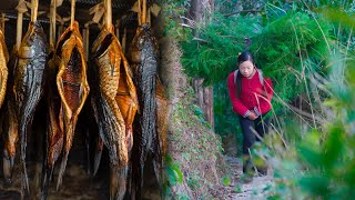 Country girl, using salt and wine to make traditional Chinese smoked marinated fish | Wild girl