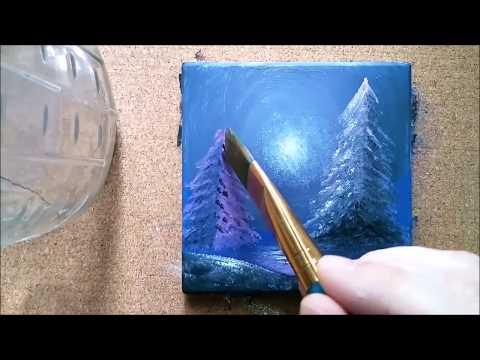 Paintable #2 | Painting a Ceramic Tile Coaster | Winter Lights - Acrylic Landscape Art