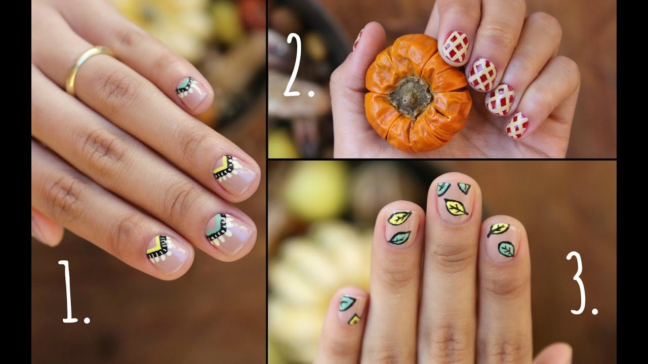 Thanksgiving Nails!! 3 Easy Designs - YouTube