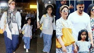 Cutie Nitara Kumar so naughty with Mom Twinkle Khanna and dad Akshay Kumar at airport