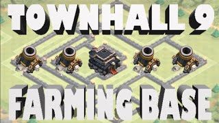 Clash Of Clans- Town Hall 9 Trophy/Farming Base With 4th Mortar SpeedBuild!