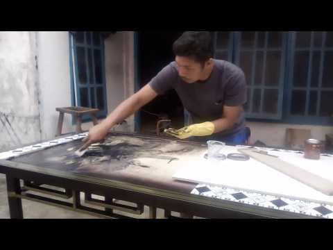 Cara buat (diy) Meja makan  granite  _ tahap Pemasangan granite tiles