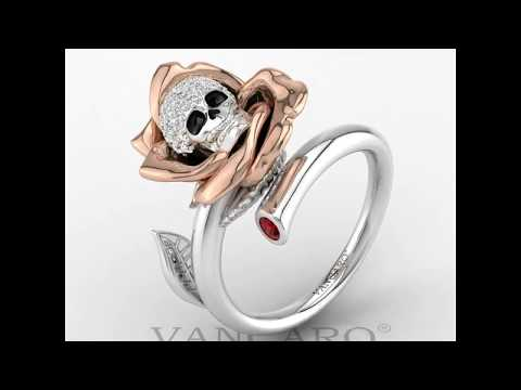 VANCARO Skull With Rose Cuff Ring