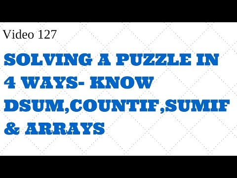Learn Excel-Video 126-  GIVING 4 SOLUTIONS TO 1 PUZZLE