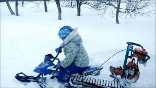 самодельный детский снегоход с мотором от бензопилы 2 Верхняя Хава