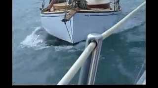 Classic Yacht Racing New Zealand 1936 Classic Mullet Boat Corona at close quarters