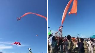 video: Girl, 3, swept 100 feet into air at Taiwan kite festival