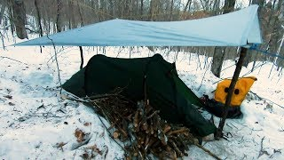 4 - Tent Camping in the Winter with Ice Rain,  Feels Like -28 Celsius