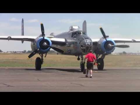 B-25 Bomber shutdown, startup, taxi, takeoff,