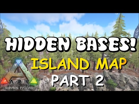 HIDDEN BASES | Island Map Part 2  - Top 5 Solo PvP Base Locations | ARK: Survival Evolved Bases PC