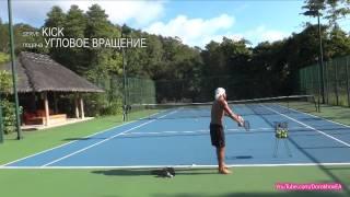 Tennis Kick Serve Practice (Тренировка теннисной подачи с диагональным вращением)