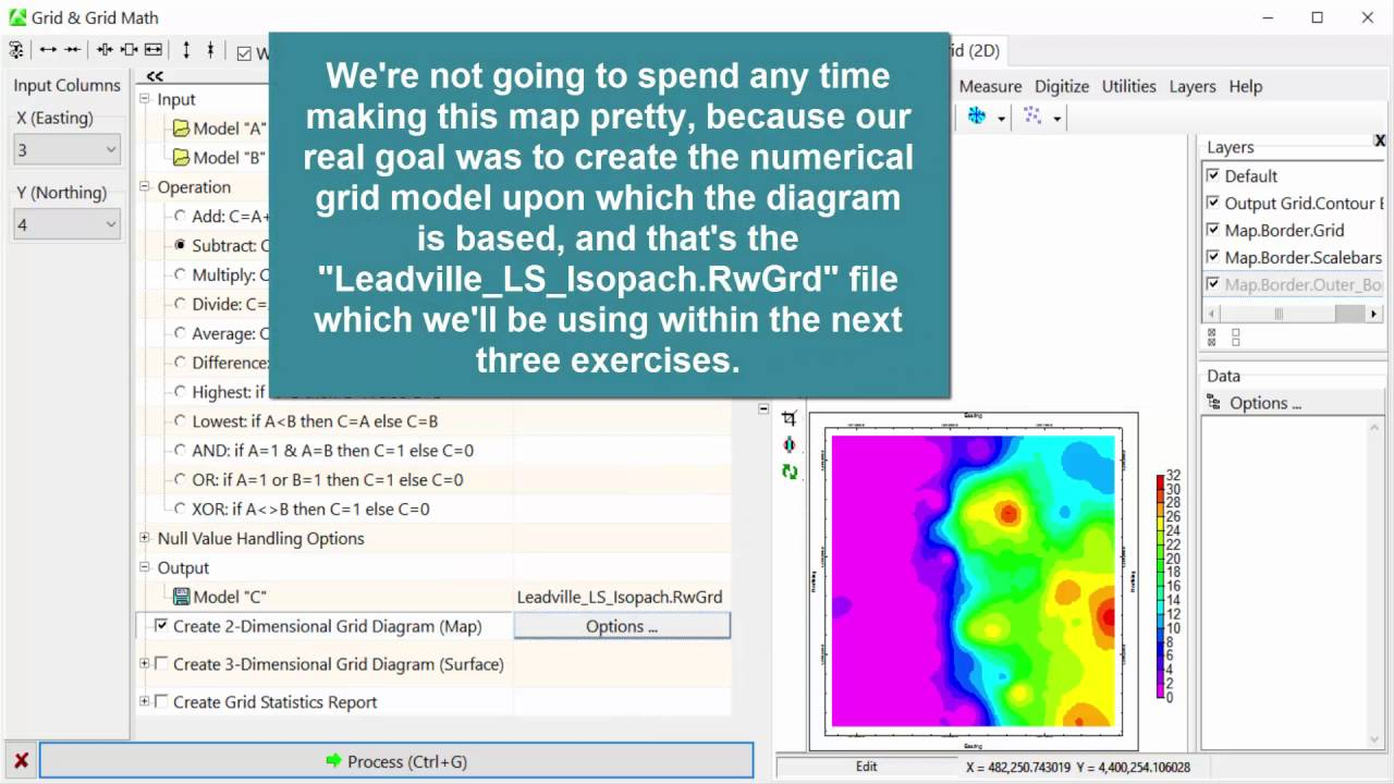 RTE 8.1) Using Grid Math to Create an Isopach Grid - YouTube