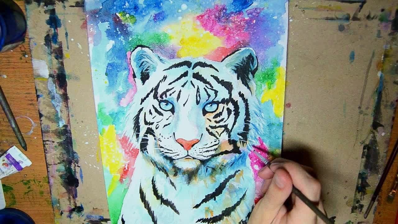 White Tiger - Speed up painting Acrylic - YouTube