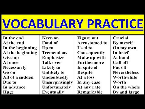 ENGLISH VOCABULARY PRACTICE. INTERMEDIATE-ADVANCED. Vocabulary words English learn with meaning