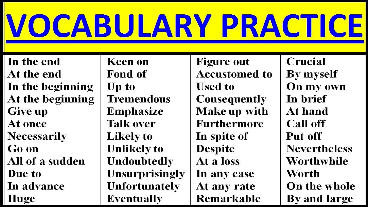 English Vocabulary Practice Intermediateadvanced Vocabulary Words English Learn With Meaning