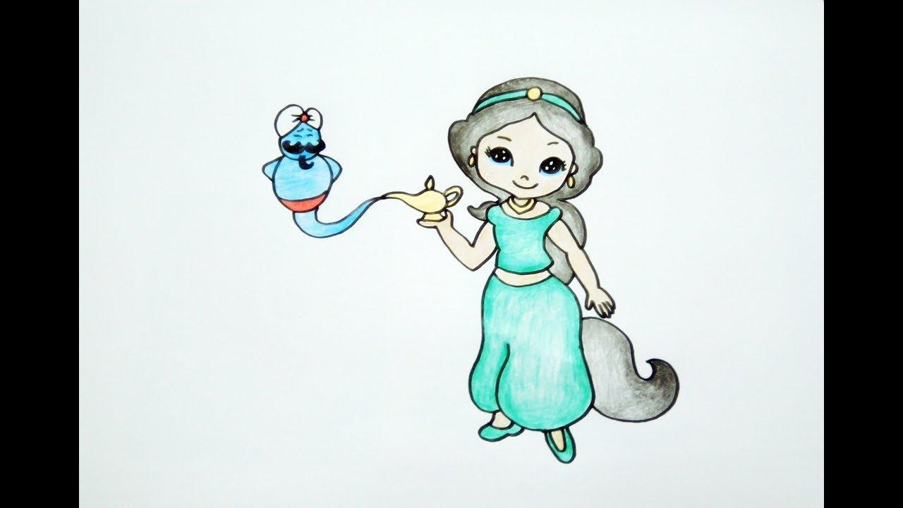 วาดรูปเจ้าหญิงจัสมิน ตะเกียงวิเศษ ยักษ์จินนี่ Princess