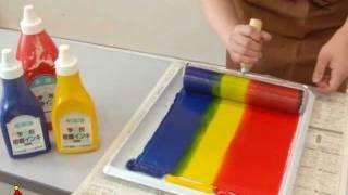 クラフテリオ携帯|t|スチレン版画-2虹の国・インキのばし