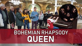 Crowd Sings Queen Bohemian Rhapsody Piano at Train Station Cole Lam 12 Years Old