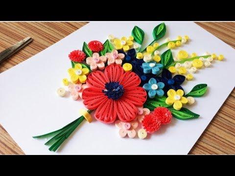 DIY Paper Quilling Flower For beginner Learning video 40 // Paper Quilling Flower Card