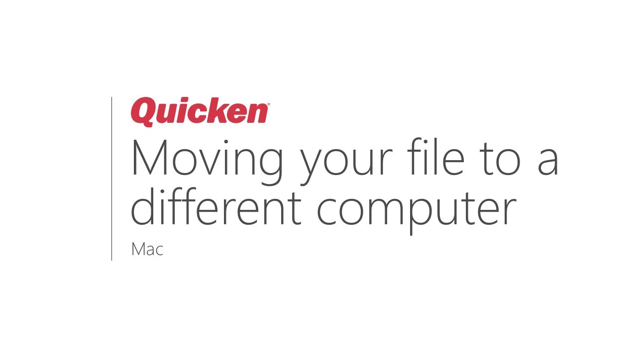 Quicken for Mac: Moving your Quicken file from one computer to another