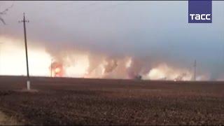 Под Харьковом горит военный склад с боеприпасами