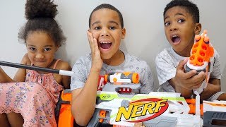 Magic Wand Freezes Kids with Nerf Blasters | Kids Pretend Play | FamousTubeKIDS