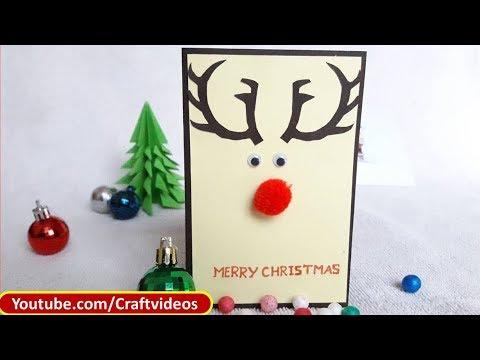 Simple Christmas Card For Kids Easy Christmas Card Ideas Reindeer Christmas Card Youtube