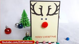 Simple Christmas Card For Kids| Easy Christmas Card Ideas | Reindeer Christmas Card