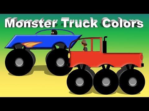 Monster Truck Colors - Red Blue Green Orange Purple Monster Trucks
