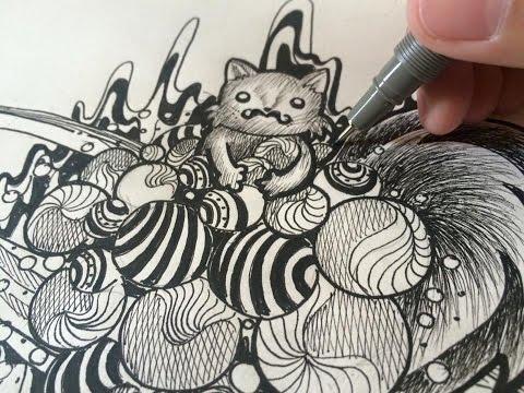 OhMustaches : (วาดรูปสุนัขจิ้งจอกหนวด แนวลายเส้น) How to draw doodle 'Fox de space'