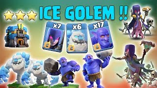 Ice Golem TH12 Attack Strategy 2019! 6 Ice Golem With BoWitch 3star TH12 War Attack