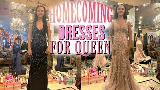 HOMECOMING QUEEN DRESS SHOPPING! HOCO DRESS TRY ON! EMMA AND ELLIE