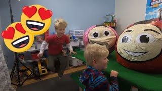 Thomas and Friends Giant Surprise Eggs! What's inside James and Rosie on the TrainLab