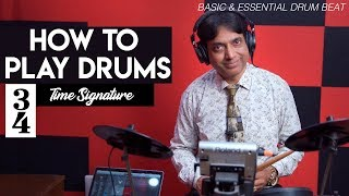 How to Play Drums 3/4 (Waltz) Time Signature Beat - Easy Tutorial   Yeshu Ke Geet