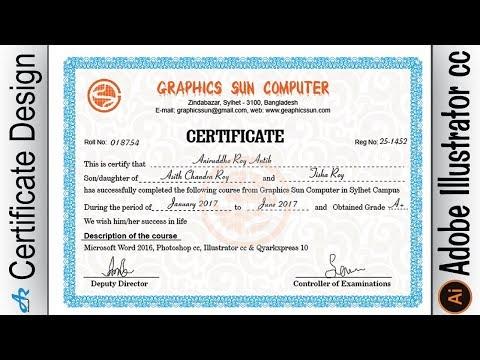 Creating Professional Computer Certificate Design in Illustrator cc|Make certificate design Ai
