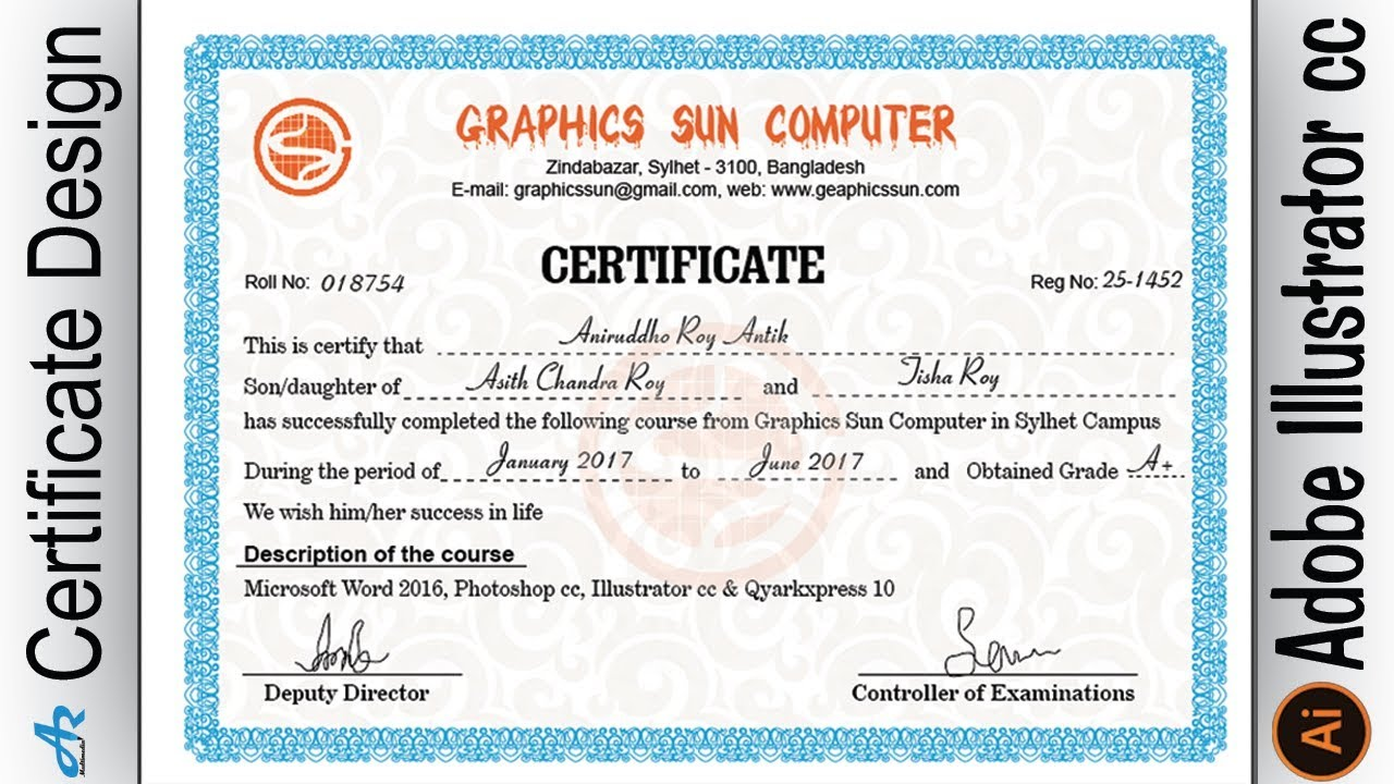 Creating Professional Computer Certificate Design In Illustrator Cc Make Certificate Design Ai