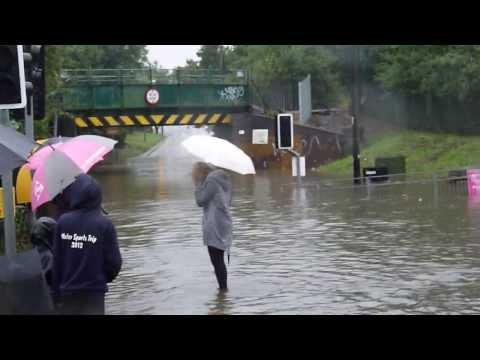 Hockley Floods 2013 Greensward Lane railway bridge.