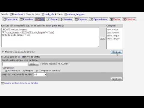 PMB cambiar el código de dos letras para idioma al de tres letras vía MySQL